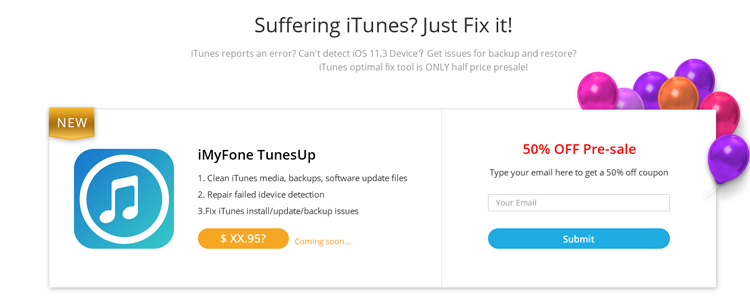 新品 iMyFone TunesUp 預購 5 折優惠